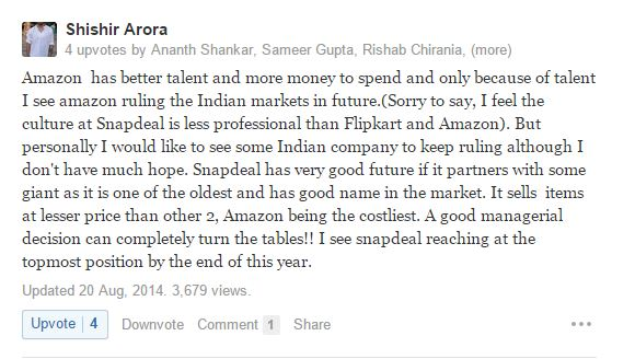 Amazon Vs Flipkart VS Snapdeal Better Service Wins