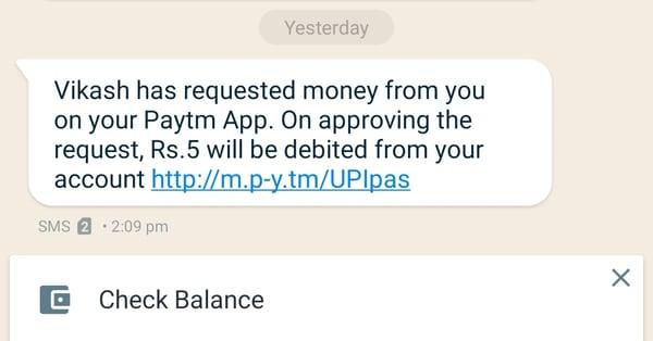 PayTm Fraud Message